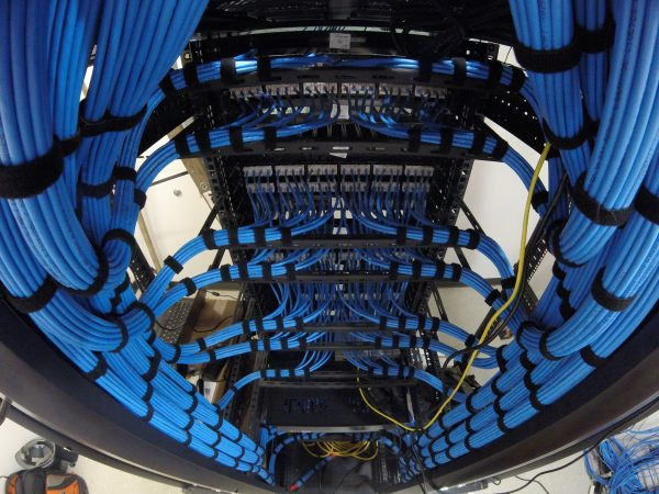 Dressed blue cat6 cable in server rack - Bluewire