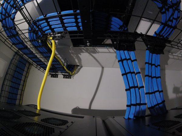 Dressed and tied down cat6 in cable trays and waterfalls - Bluewire