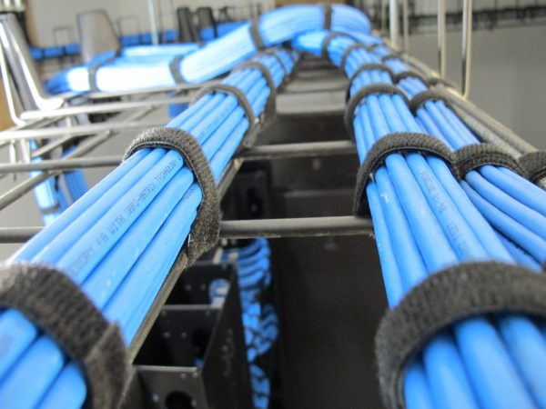Dressed blue cat6 x 3 bundles in server tray - Bluewire
